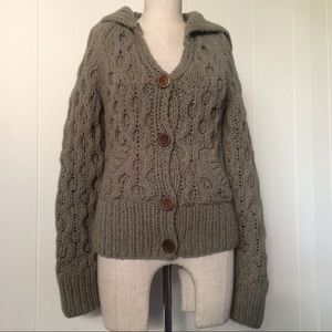 Sweaters - Sage Green Cable Knit Hoodie